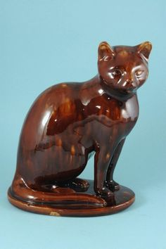 Brown Cat Seated on a Base. Crazy Cat Lady, Crazy Cats, Bennington Pottery, Sphinx, Brown Cat, Cat Statue, Cat People, Clay Animals, Vintage Cat