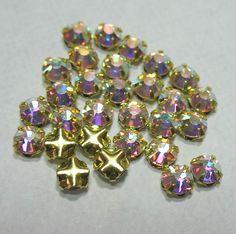 Preciosa Czech Rose Montees 3mm SS12 GP Gold Plated AB Crystal 25 Beads  #Preciosa