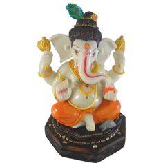 Sitting Chaturbhuj Ganesh / Ganesha / Ganpati Statue Marble Finish