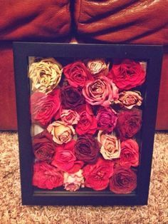 This is a great way to save your wedding bouquet---save the heads of the flowers and frame them in a shadow box