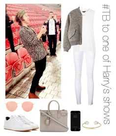 """""""#TB to one of Harry´s shows"""" by thetrendpear-eleanor ❤ liked on Polyvore featuring Frame, Topshop, Acne Studios, Yves Saint Laurent, NIKE, Ray-Ban and Astley Clarke"""