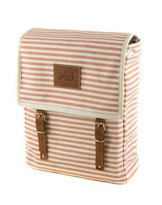 Orange Marine Backpack, Mediterranean, Orange and White Horizontal Stripes, Leather and Canvas Bag, Women's Backpack My Bags, Purses And Bags, Shops, Striped Canvas, Canvas Backpack, Women's Backpack, Natural Leather, Natural Brown, Brown Leather