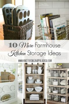 Knittering In Appalachia™ 10 More Farmhouse Kitchen Storage and Organization Ideas Kitchen Organization, Kitchen Storage, Organization Ideas, Storage Ideas, Cookbook Storage, Pantry Storage, Kitchen Shelves, Storage Bins, Storage Containers