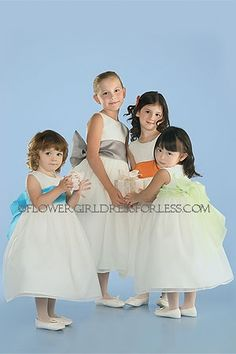 US Angels Flower Girl Wide Organza Sash Style (B (expects to fit size Pewter) Ivory Dresses, Custom Dresses, Yellow Flower Girl Dresses, Flower Girls, Dresses For Less, Dresses For Sale, White And Silver Dress, White Dress, Holy Communion Dresses