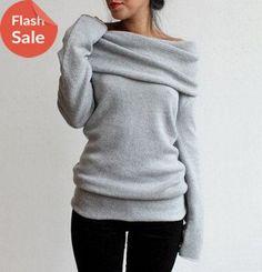 Pure Color Off Shoulder Side Split Dipped Hem Knit Jumper