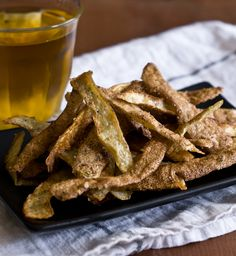 potato peel fires: simply stir fry in a little bit of olive oil until golden brown, then toss with salt & pepper