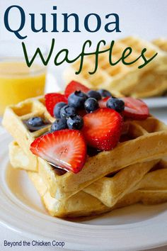 Everyday waffles made healthier with added quinoa - you'd never even know it's in there! #quinoa #waffles #breakfast #quinoabreakfast