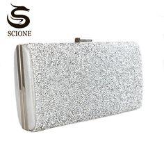 371a45f91623  34.74 - Awesome Scione Women Evening Bag Luxury Black Silver Wedding Party  Bag Diamond Rhinestone