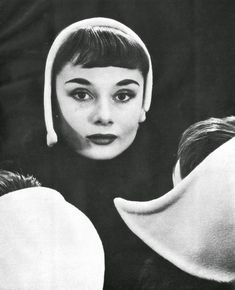 Audrey Hepburn (at that time, a fashion model and one young actress) photographed by Erwin Blumenfeld at his studio (at 222 Central Park South) in New York, in May 1952.