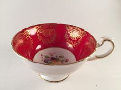 PARAGON England Bone China TEA CUP Red Gold Trim with Fruits Berries #Paragon