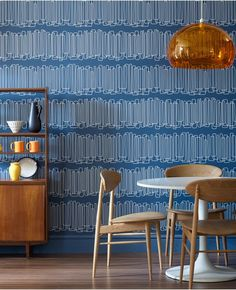 Go retro with navy blue geometric wallpaper