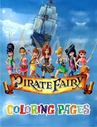 pirate fairy coloring book - Available via Etsy.  Get the coloring book and make copies for placemats.  Put out crayons and let the kids go to town while waiting on guests to arrive.