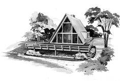 Elevation of A-Frame   Contemporary   Retro   House Plan 95004