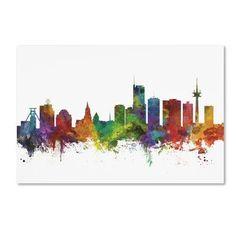 "Trademark Art 'Essen Germany Skyline II' Graphic Art Print on Wrapped Canvas Size: 16"" H x 24"" W"