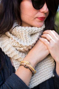 DIY Knotted Leather Bracelets, an armful of these sweet and simple bracelets are enough style for the entire winter