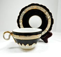 STRIKING Vintage black white and gold teacup by 3SisterzJewelry, $23.00