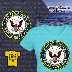 Proud US Navy Wife Shirts with Navy Emblem. Navy Wife Shirts & Hoodies available in lots of colors & styles! Us Navy Wife, Navy Mom, Us Navy Shirts, Navy Emblem, United States Navy, Hoodies, Sweatshirts, Mens Tops, T Shirt