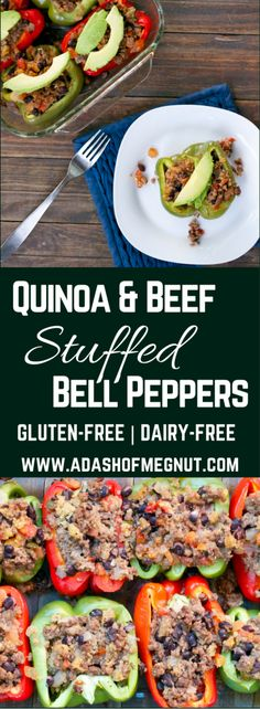 Beef and Quinoa Stuffed Bell Peppers (GF, DF) - A Dash of Megnut