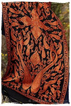 Rococo Sienna Paisley Antiquaires Shawl — Seasons by The Kashmir Company Rococo, Paisley, Sienna, Cashmere Shawl, Vera Bradley Backpack, Flower Patterns, Fashion Bags, Cowboy Boots, Embroidery Designs