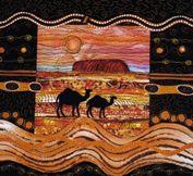 Uluru and Camels  www.carolinesharkey.com.au