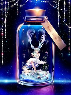 blue_hair bottle bubble closed_eyes dress floating_hair full_body hatsune_miku highres hourglass in_bottle in_container jewelry long_hair minigirl necklace seashell shell shou_ryuusei_ex solo submerged twintails very_long_hair vocaloid white_dress Anime Girl Cute, Kawaii Anime Girl, Anime Art Girl, Animes Wallpapers, Cute Wallpapers, Mikuo, Anime Galaxy, Image Manga, Anime Angel