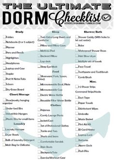The Ultimate College Dorm Checklist! Not Just For UC Riverside This Can Be  Applicable To Part 90