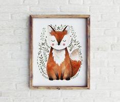 Printable Fox Print Fox Nursery, Woodland Nursery Decor, Nursery Prints, Nursery Wall Art, Girl Nursery, Nursery Ideas, Nursery Monogram, Nursery Letters, Fox Print