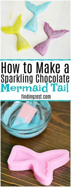 Looking for easy mermaid party ideas? Learn how to make a sparkling chocolate mermaid tail. Perfect for birthday cakes, cupcakes, party favors, garnish and more! (You won't believe how easy they are to make!)