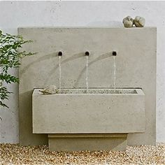 "Times Three Fountain $1,150.00 Made of cast stone in a gently aged finish called Garden Stone. Measures 36"" x 16.5"" x 32"" high. Includes fountain pump. — Sold By Potted, Los Angeles"