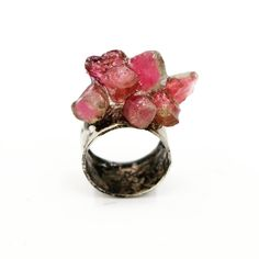 Art Jewelry:  Sterling silver ring, set with pink and watermelon Tourmaline
