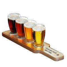 #Beer #Sampler #Set - set of four handcrafted pilsner glasses with wood serving paddle.