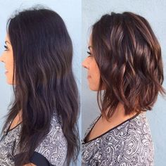 [ Trendy Hair Color - Highlights : Owner Ana from Rinse Salon created this Beautiful transformation by hair painting and adding some cinnamon highlights Medium Hair Styles, Curly Hair Styles, Hair Medium, Medium Wavy Bob, Updo Curly, Super Short Hair, Super Hair, Hair Color And Cut, Long Hair Cuts