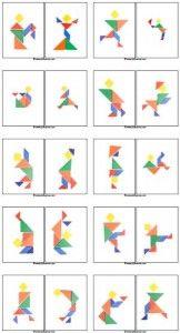 Tangram voorbeeldkaarten van mensfiguren. Ook sportende mensfiguren dus goed te gebruiken bij thema sport en de kbw 2013.