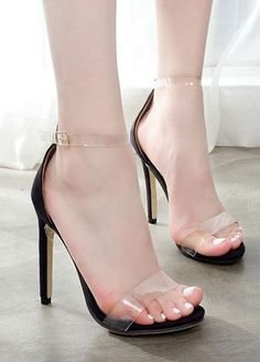 1bb053759be Transparent Straps Ankle Buckle High Heel Sandals High Heels Shoes Sexy  Lingeire