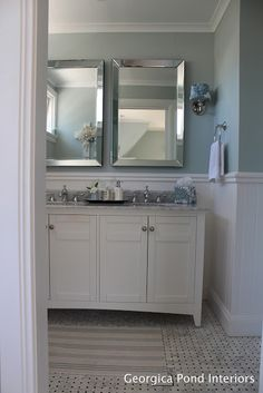 GEORGICA POND INTERIORS - our ensuite bathroom, white marble, basketweave tiles, Dulux Roland, wainscoting