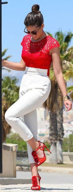 #spring #fashion #outfitideas | Red and White | 1sillaparamibolso