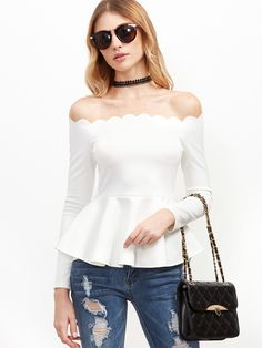 Shop White Scallop Off The Shoulder Peplum Top online. SheIn offers White Scallop Off The Shoulder Peplum Top & more to fit your fashionable needs. Long Sleeve Peplum Top, White Peplum Tops, Day To Night Dresses, White Off Shoulder, Shoulder Tops, Fit And Flare, Blouses For Women, Shirt Style, Pattern Fashion