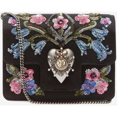 Alexander McQueen Embroidered Heart Mini Chain Satchel (£1,695) ❤ liked on Polyvore featuring bags, handbags, crossbody purses, satchel handbags, mini crossbody, mini cross body purse and crossbody satchel