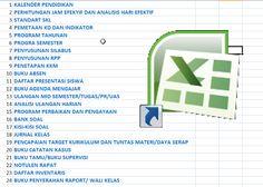 24 BERKAS ADMINISTRASI GURU DALAM 1 FILE EXCEL - BERKAS SEKOLAH- Aplikasi Excel yang dapat membantu pekerjaan Guru dan Wali Kelas untuk mengecek kelengkapan setiap Administrasi yang harus dipunyai bagi seorang Guru terutama dalam persiapan mengajar di kelas.  24 BERKAS ADMINISTRASI GURU DALAM 1 FILE EXCEL - BERKAS SEKOLAH  Berkas Sekolah - Aplikasi excel ini sangat cocok untuk Guru yang sibuk dengan Administrasi Guru dan yang menyukai Aplikasi yang simple dan otomatis. Jadi Bapak dan Ibu… Microsoft Excel, Microsoft Office, Microsoft Windows, Financial Dashboard, Word Doc, Filing, Google Drive, Kids And Parenting, Teacher