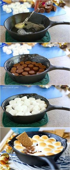 Reese's Cup S'mores Dip with only 3 ingredients!  I'm obsessed with this chocolate peanut butter goodness!