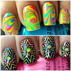 watermarble- rainbow swirl- china glaze polishes