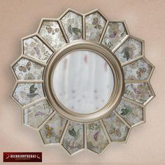 "Espejo Decorativo Redondo, ""Reflejo de la naturaleza"" Espejo color plata  redondo con tecnica del espejo envejecido - Artesania Peruana by DECORCONTRERAS on Etsy"