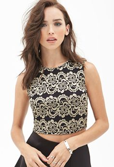 1ac916d4f9bfa FOREVER 21 Mesh Lace Crop Top Black Gold Spring Tops