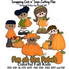 Colorful Fall Kids Cutting Files