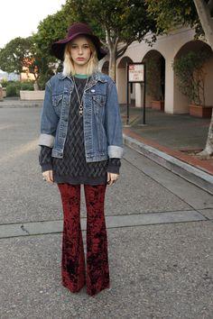 Red Velvet Flare Pants.
