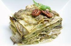 Vega: Lasagne van courgette en aubergine met pesto van basilicum, macadamia en walnoten. - Recept.