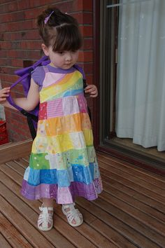 Rainbow Dress using Spoonflower fabric and design