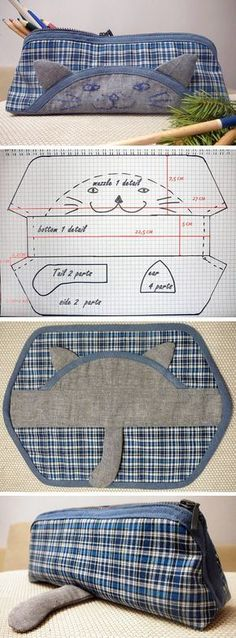 Cat Pencil Case Pattern and Tutorial  #pencilcase