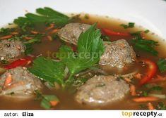 Hovězí vývar s játrovými knedlíčky recept - TopRecepty.cz Pot Roast, Soup, Beef, Ethnic Recipes, Carne Asada, Meat, Roast Beef, Soups, Steak
