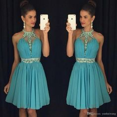 Lime Green Homecoming Dresses 2016 A Line Halter Beaded with Rhinestone Chiffon…